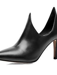 preiswerte -Damen Schuhe Echtes Leder Herbst Pumps High Heels Stöckelabsatz Spitze Zehe für Hochzeit Party & Festivität Schwarz Rot