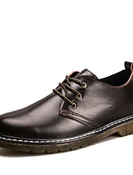 cheap -Men's Shoes PU Spring Fall Comfort Oxfords Lace-up for Casual Black Coffee