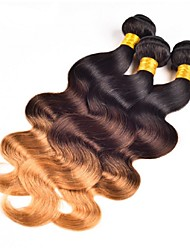 Virgin Brazilian Ombre Hair Weaves Body Wave Hair Extensions 3 Pieces Black/Medium Brown/Strawberry Blonde