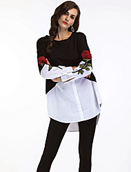 cheap -Women's Going out Work Punk & Gothic Sophisticated Winter Fall Shirt,Embroidery Shirt Collar Long Sleeves Cotton Acrylic Medium