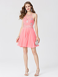cheap -A-Line / Princess Halter Neck Short / Mini Chiffon Open Back Cocktail Party / Prom Dress with Crystals by TS Couture®