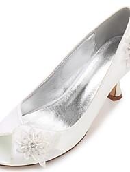abordables -Mujer Zapatos Satén Primavera Verano Confort Pump Básico Zapatos de boda Tacón Kitten Tacón Cono Tacón Bajo Tacón Stiletto Punta abierta