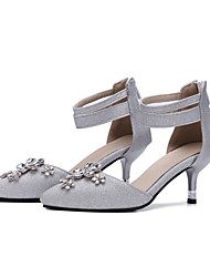 Damen Schuhe Nubukleder Sommer Herbst Komfort Neuheit High Heels Stöckelabsatz Spitze Zehe Kristall Reißverschluss Für Hochzeit Party &