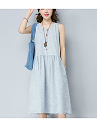 cheap -Women's Daily Going out Casual Loose Dress,Striped Round Neck Midi Sleeveless Cotton Linen Summer Mid Rise Inelastic Medium