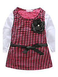 cheap -Girl's Birthday Daily Houndstooth Dress,Polyester Fall Long Sleeve Check Black Red