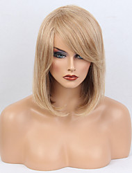 Women Human Hair Capless Wigs Medium Auburn/Bleach Blonde Medium Length Straight Side Part