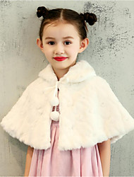 cheap -Faux Fur Wedding Party / Evening Kids' Wraps With Pattern / Print Capelets