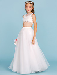 cheap -A-Line / Princess Bateau Neck Floor Length Lace / Tulle Junior Bridesmaid Dress with Appliques / Pearls by LAN TING BRIDE® / Wedding Party / Beautiful Back / See Through