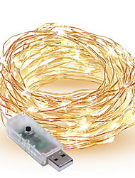 1PCS USB 5V LED String Light Silver Wire 10m 100Leds 8 Modes Colors Changeable Switch Control Fair Lights Decoration Strip Lamp for Holiday Party