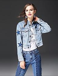 baratos -Feminino Jaqueta jeans Para Noite Casual Moda de Rua Outono Inverno,Estampado Padrão Outros Colarinho Chinês Manga Longa