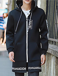 Men's Plus Size Casual/Daily Chinoiserie Fall Winter Jacket,Letter Hooded Long Sleeve Long Cotton
