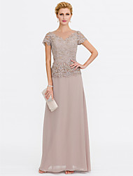 cheap -A-Line V-neck Floor Length Chiffon Lace Mother of the Bride Dress with Beading Lace by LAN TING BRIDE®