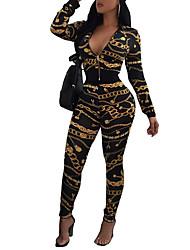 T-shirt Pantalone Completi abbigliamento Da donna Sport Per uscire Vintage Moda città Primavera Autunno,Monocolore Retrò A V Manica lunga