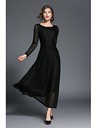 SHE IN SUN Women's Casual/Daily Lace Little Black Dress,Solid Round Neck Maxi 3/4 Length Sleeves Polyester Spring Fall High Rise Inelastic Medium