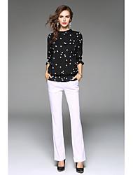 economico -T-shirt Da donna Da tutti i giorni Moderno Primavera Autunno,A pois Colletto alla coreana Chiffon Manica a 3/4