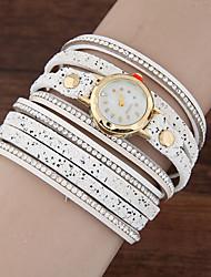 abordables -Femme Quartz Bracelet de Montre Strass Cuir Bande Etincelant Décontracté Mode Noir Blanc Rose