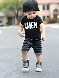 cheap -Boys' Stripe Clothing Set, Cotton Spring Summer Short Sleeves Stripes Black