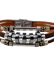 Недорогие -Муж. Кожаные браслеты - Кожа На заказ, Мода Браслеты Черный / Коричневый Назначение Повседневные Для улицы