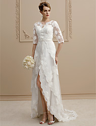 cheap -Sheath / Column V-neck Asymmetrical Lace Tulle Wedding Dress with Beading Appliques Sashes/ Ribbons by LAN TING BRIDE®