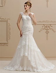 Mermaid / Trumpet Straps Court Train Lace Tulle Wedding Dress with Sequin Appliques Buttons by LAN TING BRIDE®