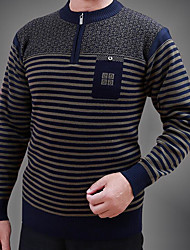 Men's Casual/Daily Regular Pullover,Striped Round Neck Long Sleeves Cotton Fall Medium Micro-elastic