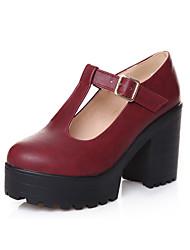 cheap -Women's Shoes PU(Polyurethane) Fall / Winter Comfort Heels Chunky Heel Round Toe Buckle Black / Red / Blue / Dress