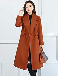 cheap -Women's Going out Plus Size Street chic Winter Fall Coat,Solid Shirt Collar Long Sleeve Regular Cashmere Polyester