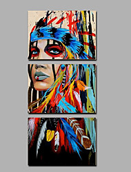 cheap -Oil Painting Hand Painted - People Ethnic & Interracial Canvas Three Panels