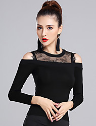 cheap -Latin Dance Tops Women's Training Modal Lace 1 Piece Long Sleeve Natural Top