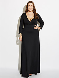 cheap -Women's Plus Size Loose Sheath Dress - Solid Colored Black High Rise Maxi Deep V