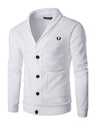 Men's Going out Simple Regular Cardigan,Solid Shirt Collar Long Sleeves Cotton Fall Medium Micro-elastic