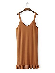 Women's Going out Casual/Daily Simple Street chic Loose Sweater Dress,Solid Strap Knee-length Sleeveless Cotton Others Spring Fall Mid