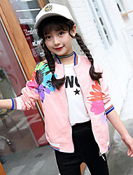 cheap -Girls' Floral Patchwork Jacket & Coat,Cotton Winter Fall Long Sleeve Floral White Blushing Pink Yellow
