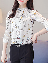 cheap -Women's Daily Going out Casual Winter Fall Blouse,Floral Stand Long Sleeves Polyester Medium