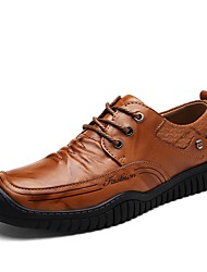 Men's Shoes Leatherette Spring Fall Comfort Sneakers Split Joint For Casual Dark Brown Light Brown Black