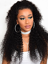 cheap -Human Hair 360 Frontal Wig Indian Hair Curly With Ponytail With Baby Hair 130% Density 100% Virgin For Black Women Long Women's Human