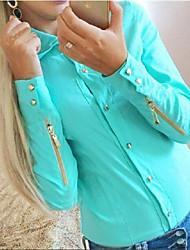 abordables -Mujer Simple Casual/Diario Camisa,Escote Chino Un Color Manga Larga Algodón Fibra de bambú