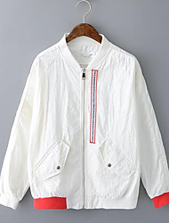 Women's Going out Casual/Daily Simple Spring Fall Jacket,Color Block Letter Stand Long Sleeve Regular Cotton Others
