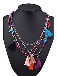 cheap -Women's Bohemian Pendant Necklace Chain Necklace  -  Vintage Bohemian Fashion Irregular Feather Rainbow Light Blue Light Green Necklace