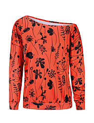 Women's Daily Going out Sexy Sweatshirt 3D Print Boat Neck Micro-elastic Polyester Long Sleeve Fall