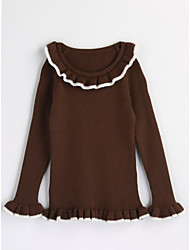cheap -Girls' Solid Blouse,Cotton Spring Fall Long Sleeve Brown