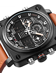 Муж. Модные часы Наручные часы Уникальный творческий часы Японский Кварцевый Календарь С двумя часовыми поясами Натуральная кожа Группа