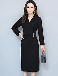 Women's Plus Size Going out Street chic Bodycon Dress,Solid V Neck Knee-length Long Sleeves Polyester Fall Winter Mid Rise Inelastic