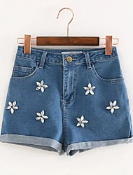 Women's High Rise Micro-elastic Jeans Shorts Pants,Street chic Simple Loose Beaded Solid Print