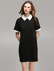 Women's Going out Casual/Daily Simple Cute Shift Shirt Dress,Color Block Shirt Collar Mini Short Sleeves Polyester All Seasons Mid Rise
