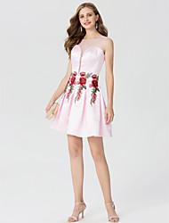 A-Linie Prinzessin Schmuck Kurz / Mini Satin Cocktailparty Kleid mit Applikationen Plissee durch TS Couture®