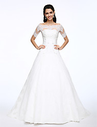 cheap -A-Line Two Piece Off Shoulder Court Train Lace Satin Custom Wedding Dresses with Beading Appliques Button by LAN TING BRIDE®