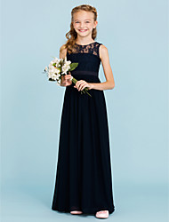 A-Line Princess Crew Neck Floor Length Chiffon Lace Junior Bridesmaid Dress with Sash / Ribbon Pleats by LAN TING BRIDE®