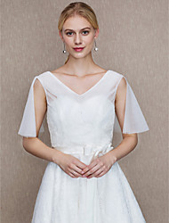 Women's Wrap Vests Lace Tulle Wedding Party/ Evening Applique Lace Side-Draped