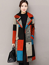 Women's Going out Street chic Fall Winter Coat,Print Shirt Collar Long Sleeve Regular Cashmere Polyester
